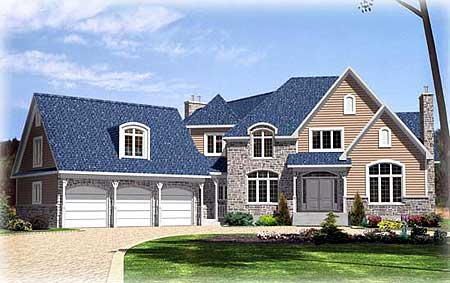 Two Story European  House  Plan  with Angled Triple Garage