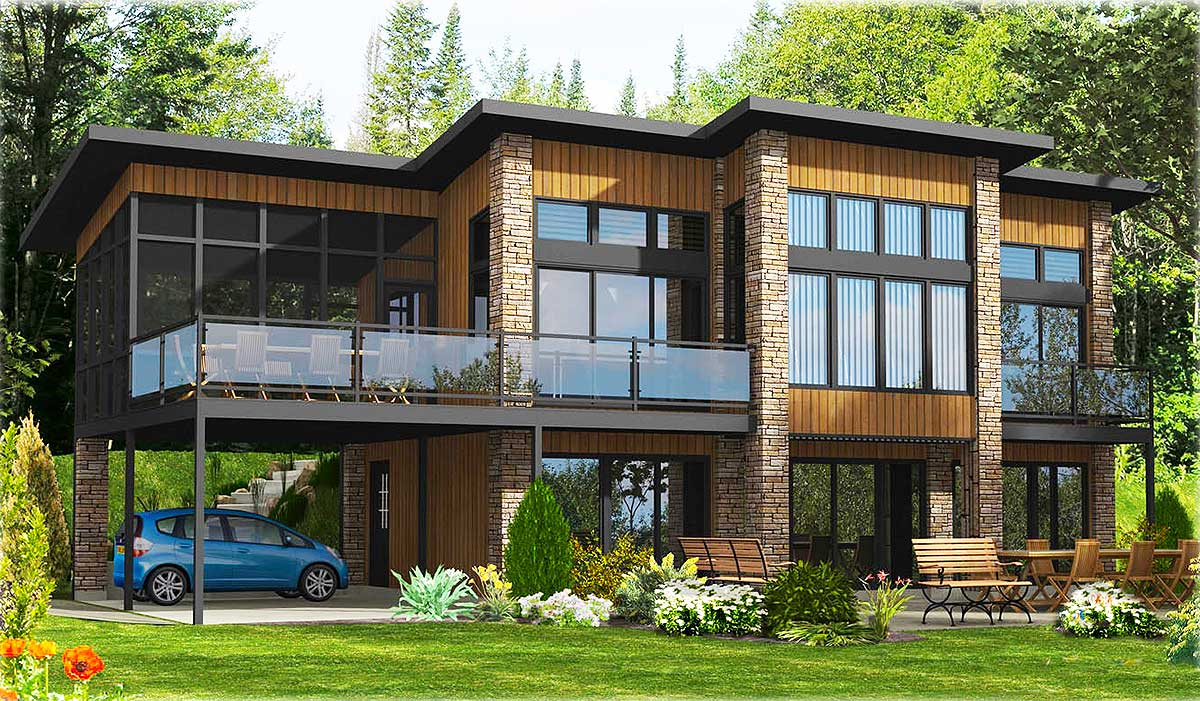 Dramatic Contemporary Home Plan - 90232PD | Architectural ...