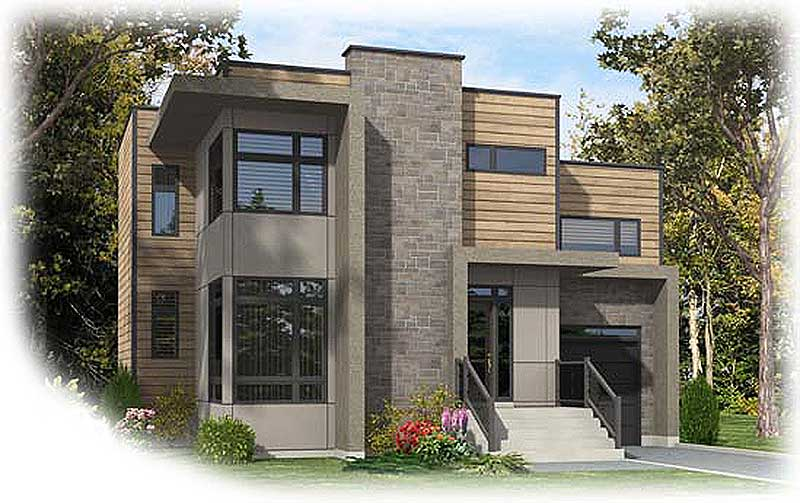 Narrow Lot Contemporary Home Plan - 90237PD ...