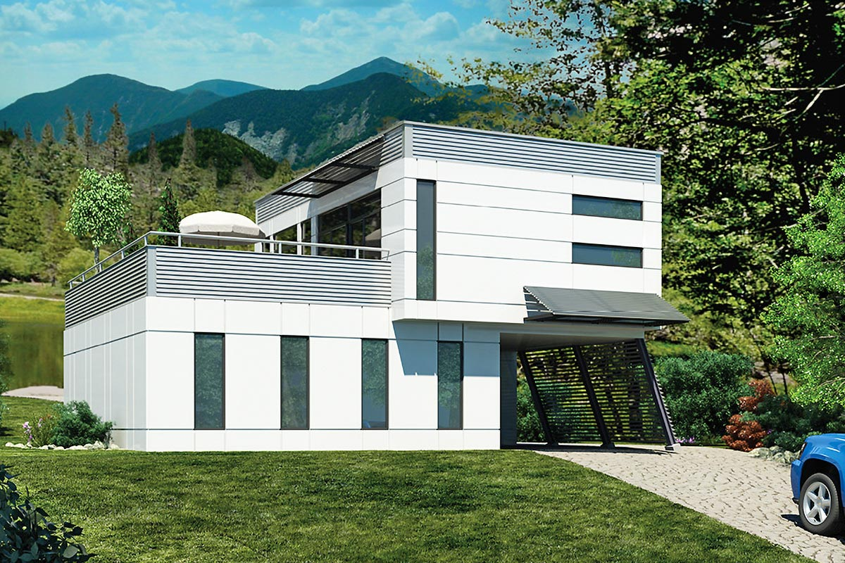 Terraced Contemporary With Carport - 90242PD ...