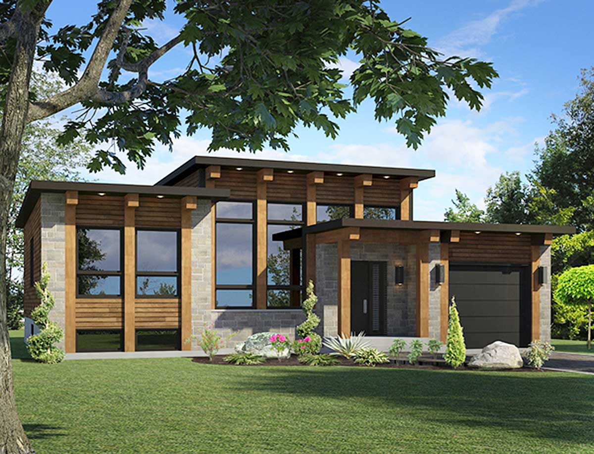 Small Scale Modern House Plan - 90267PD | Architectural ...