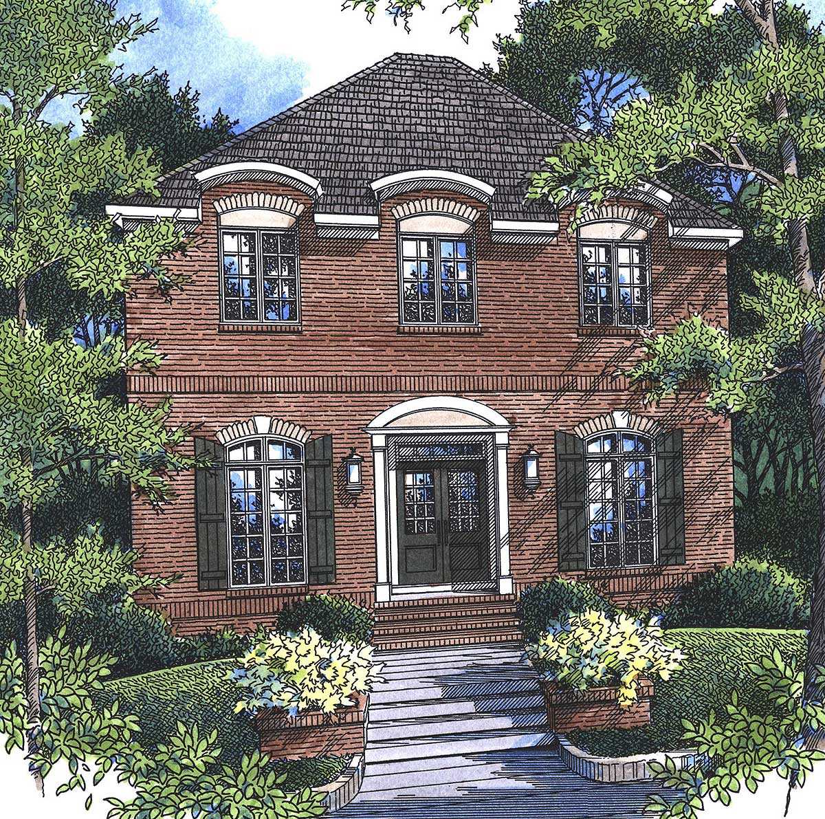 Home Exterior Options: Brick Exterior With Options - 92102VS