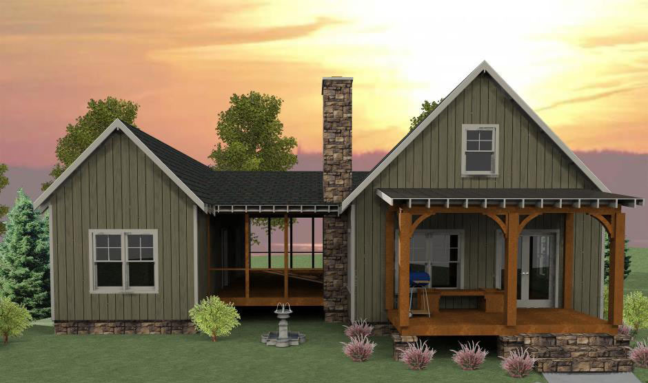 3 Bedroom Dog Trot House Plan