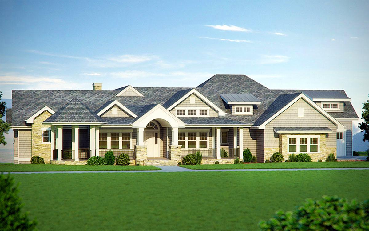 Five Bedroom Craftsman Home Plan - 95007RW | Architectural ...