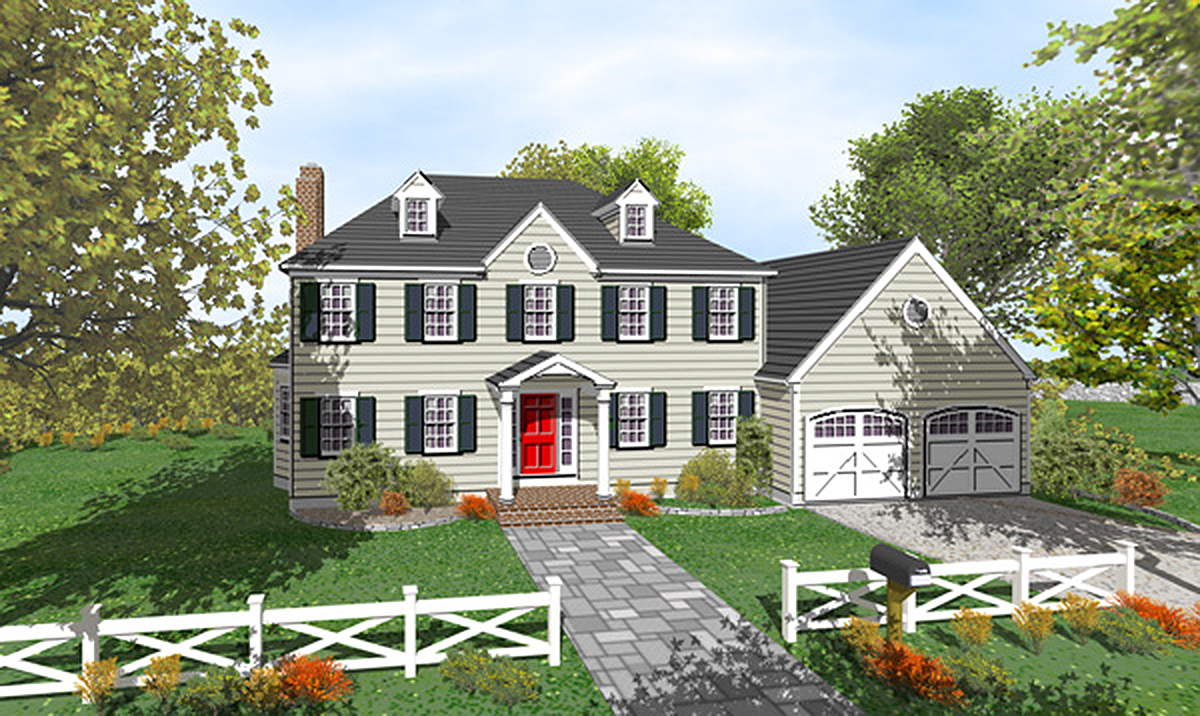Two Story Colonial with Open Floor Plan 9551DM
